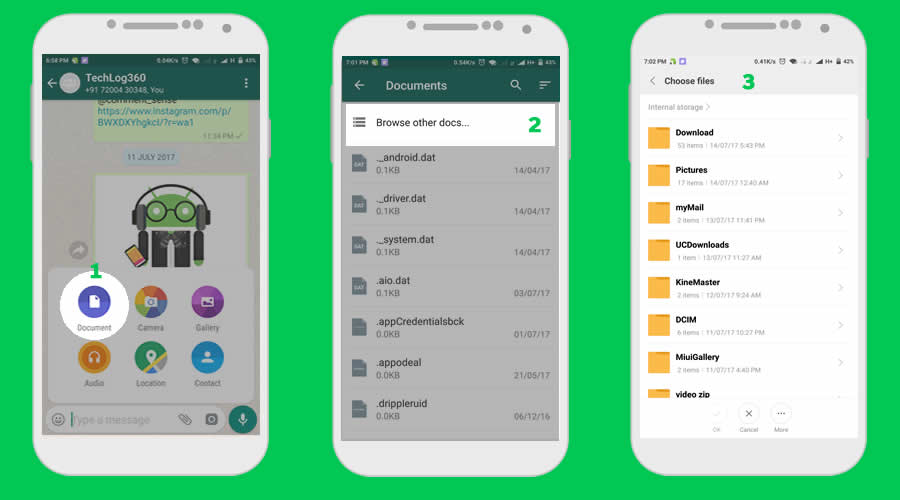 How to send any kind files in WhatsApp?