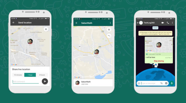WhatsApp Share live location feature
