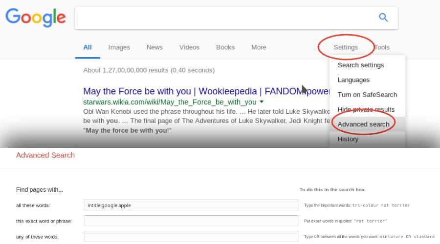 Google advanced search settings