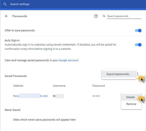 View Saved Passwords in Google Chrome