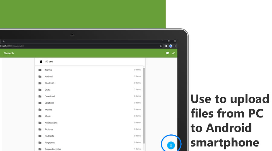 sweech wireless file transfer between android and pc